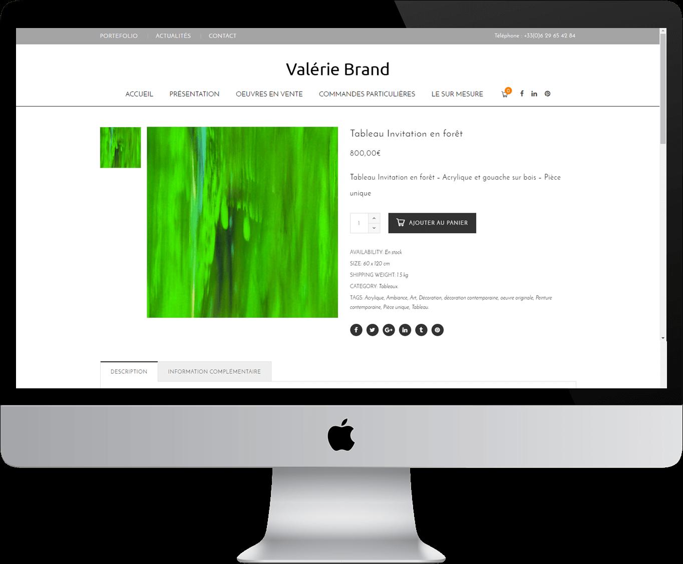 Valerie brand site internet ecommerce artiste